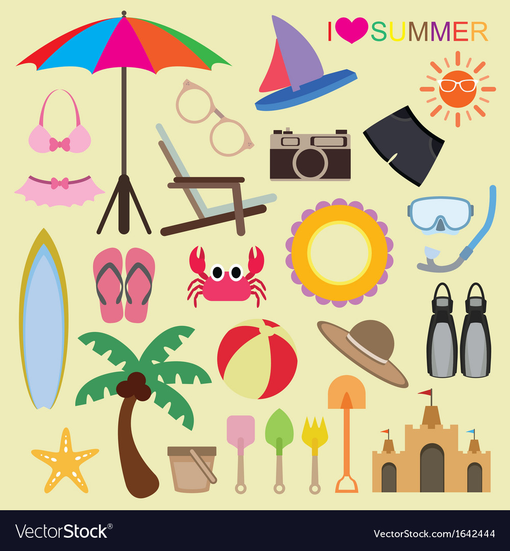 Set of beach icons vector | Price: 1 Credit (USD $1)