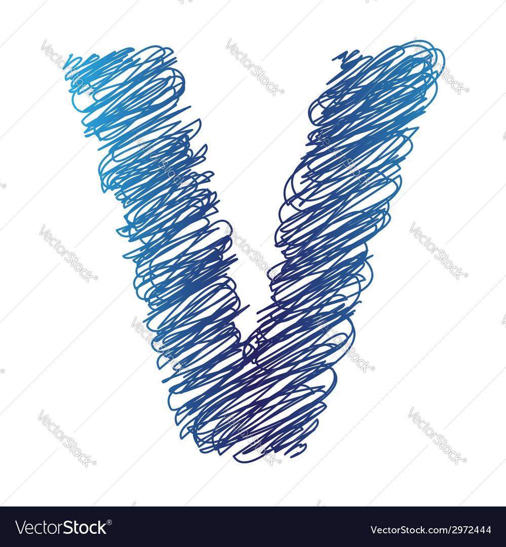 Sketched letter v vector | Price: 1 Credit (USD $1)