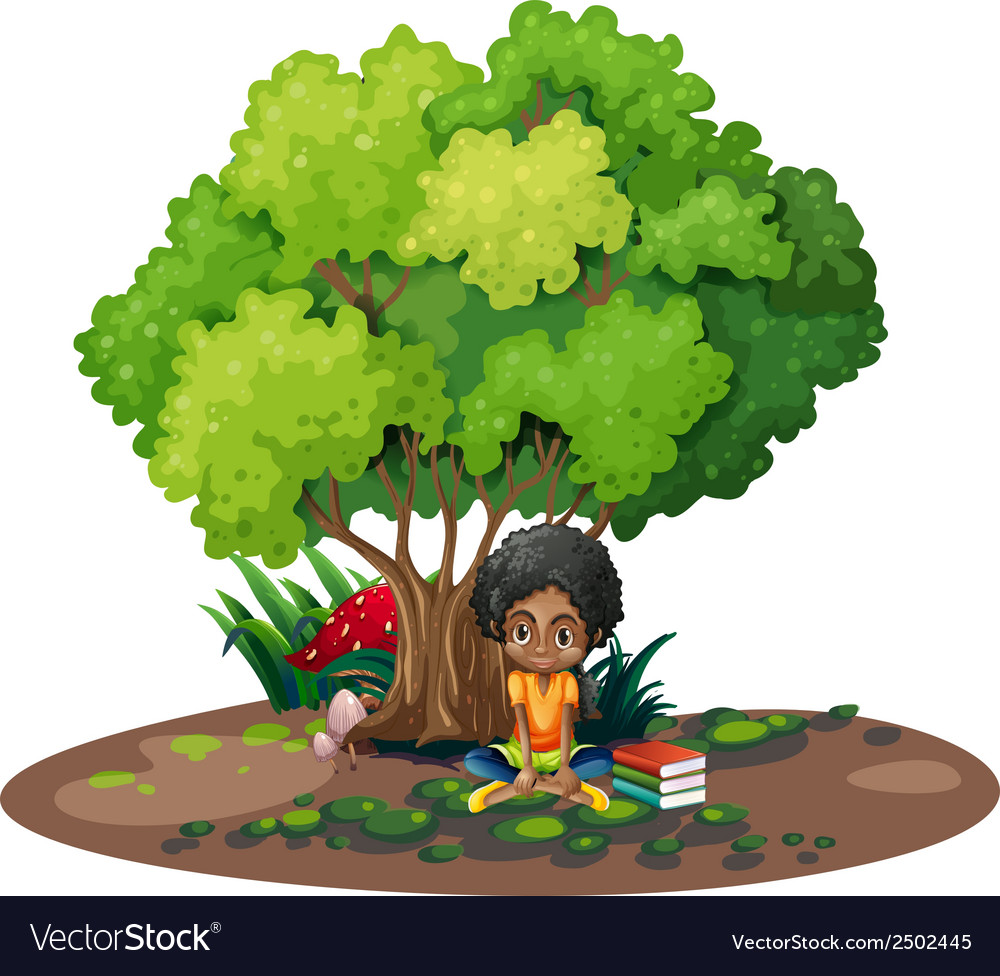 A young girl under the tree beside her books vector | Price: 1 Credit (USD $1)