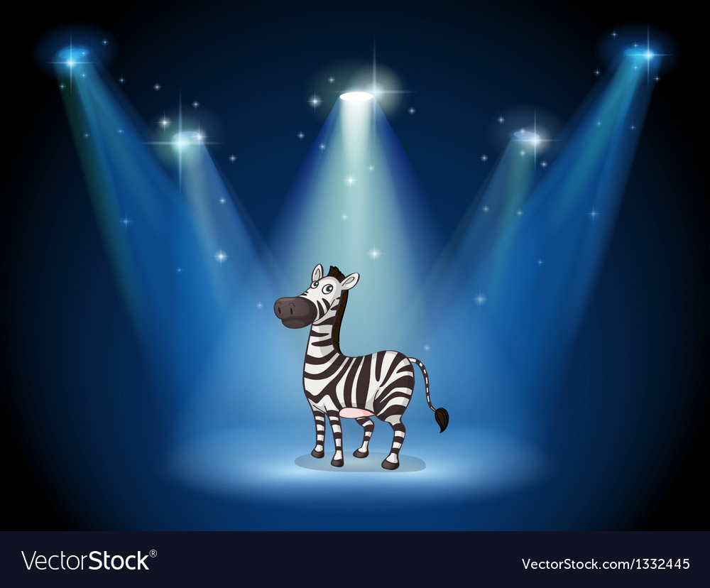 A zebra at the stage with spotlights vector | Price: 1 Credit (USD $1)