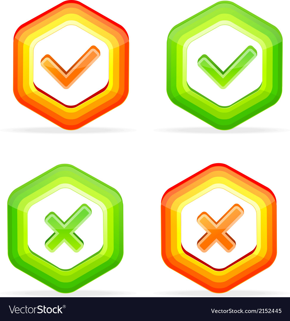 Check mark yes no like buttons vector | Price: 1 Credit (USD $1)