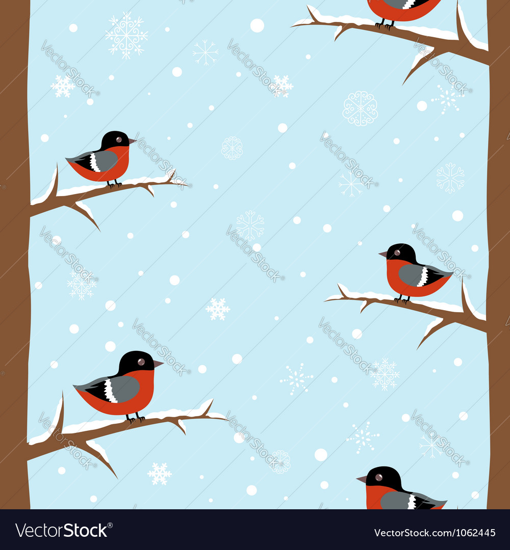 Cute winter bullfinch bird seamless pattern vector | Price: 1 Credit (USD $1)