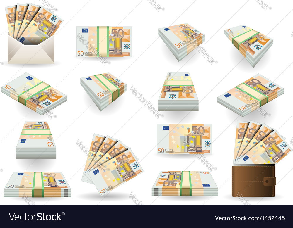 Full set of fifty euros banknotes vector | Price: 1 Credit (USD $1)