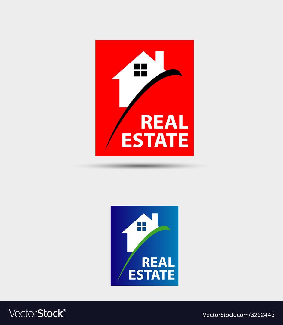 House abstract real estate countryside logo design vector