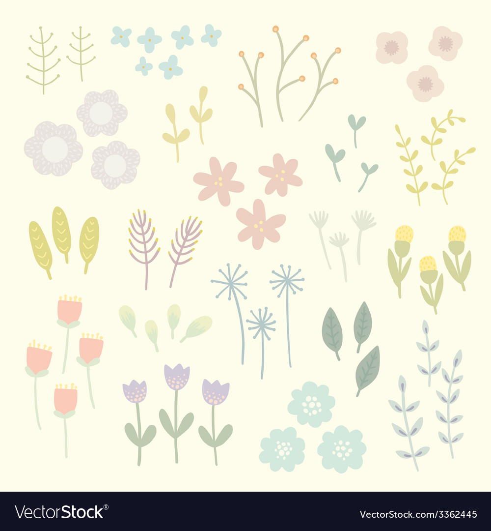 Isolated floral elements vector | Price: 1 Credit (USD $1)