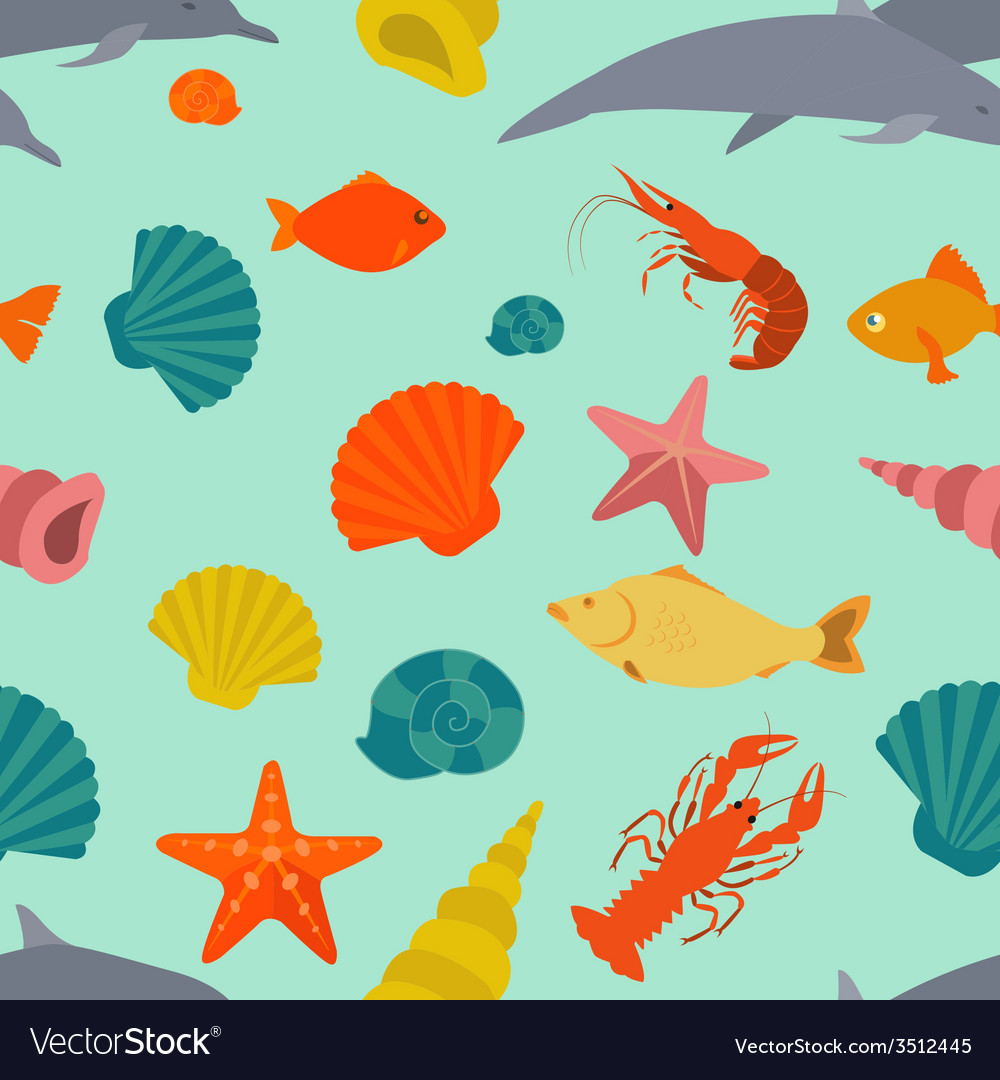 Sea animals seamless pattern flat style vector | Price: 1 Credit (USD $1)