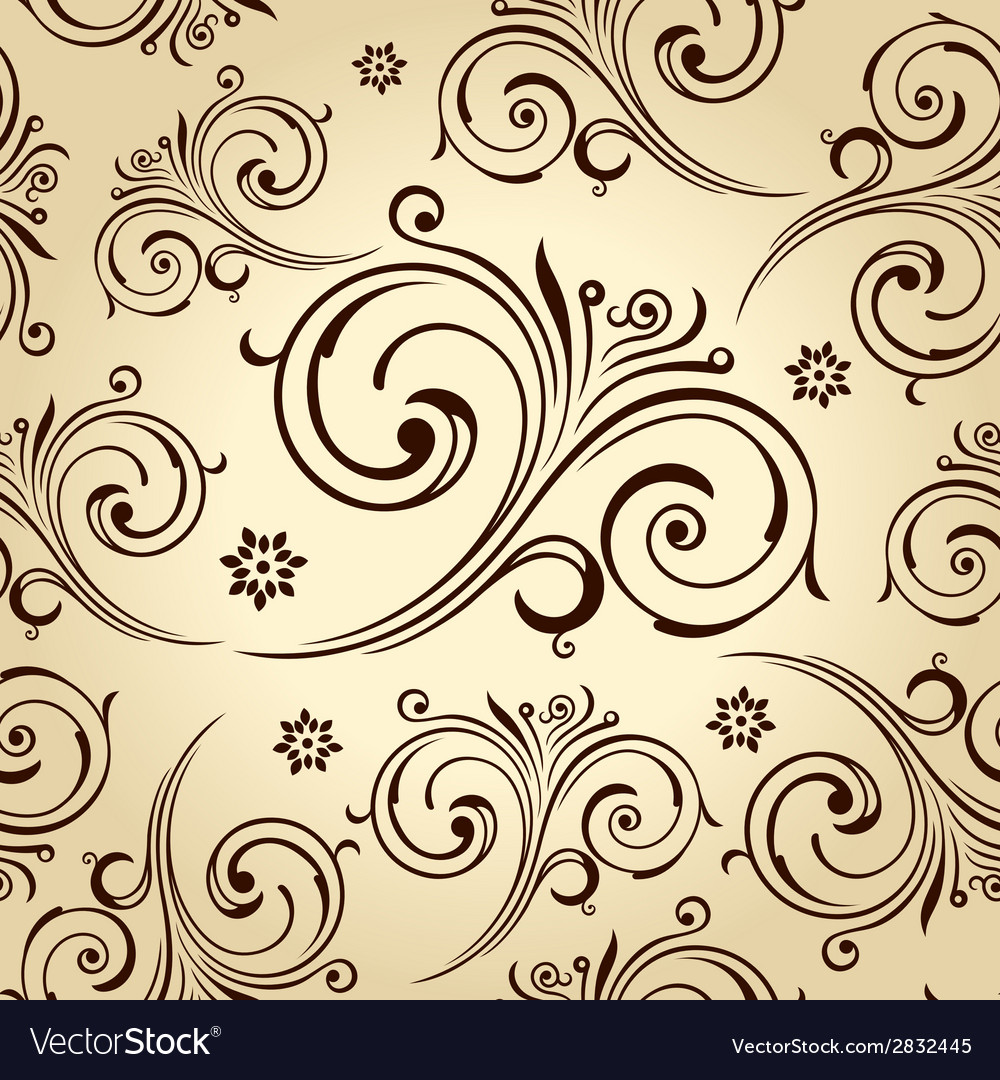 Seamless flowers wallpaper vintage background vector | Price: 1 Credit (USD $1)