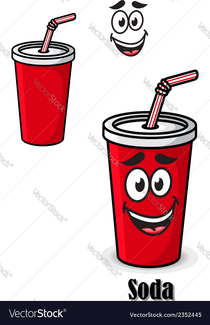 Soda drink in a red takeaway cup with straw vector | Price: 1 Credit (USD $1)