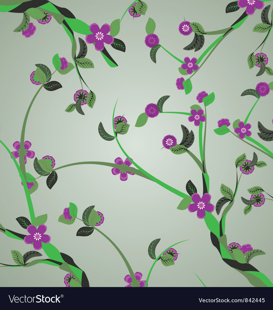 Violet flowers branches vector | Price: 1 Credit (USD $1)