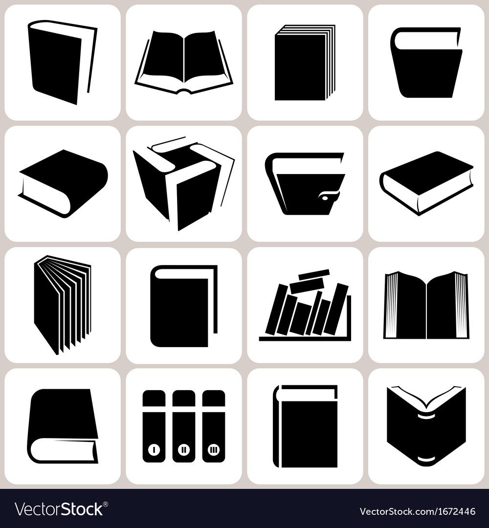 16 book icons set vector | Price: 1 Credit (USD $1)