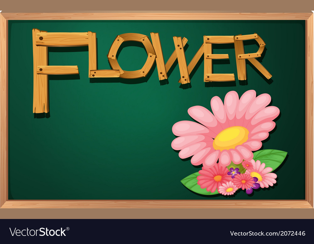 A blackboard with a flower vector   Price: 1 Credit (USD $1)