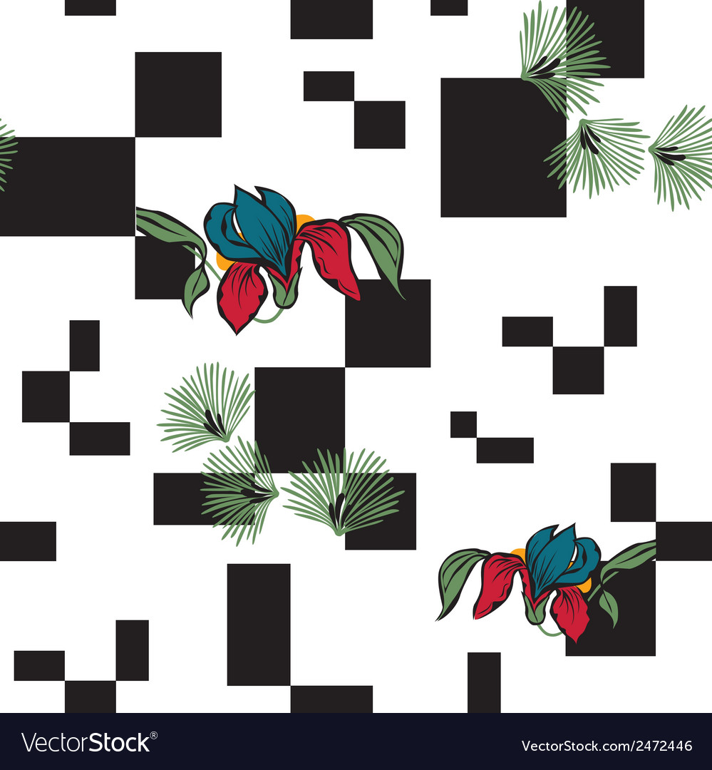 Background with squares and flowers vector | Price: 1 Credit (USD $1)