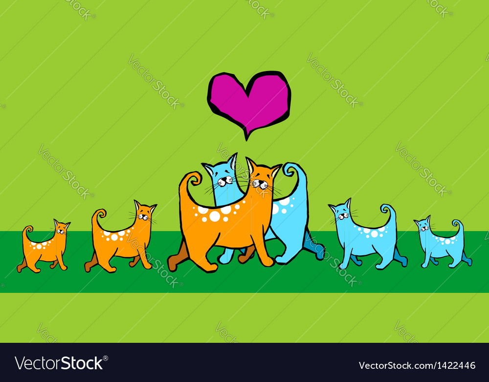 Cats with offspring vector | Price: 1 Credit (USD $1)