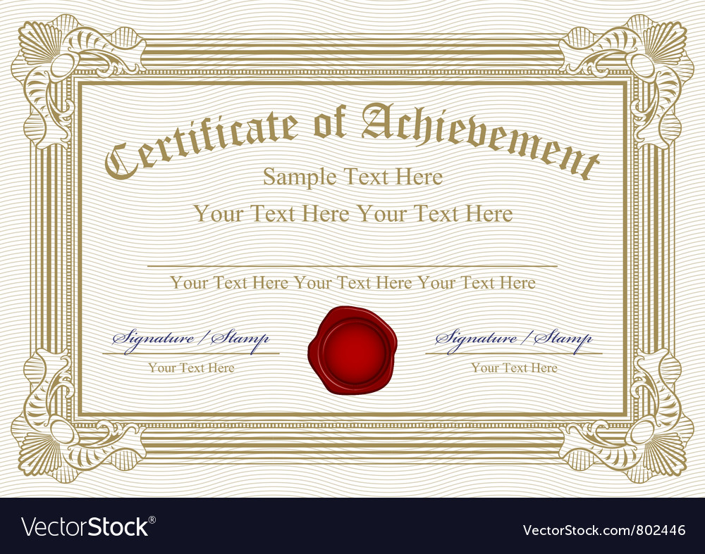 Certificate of achievement with wax seal vector | Price: 1 Credit (USD $1)