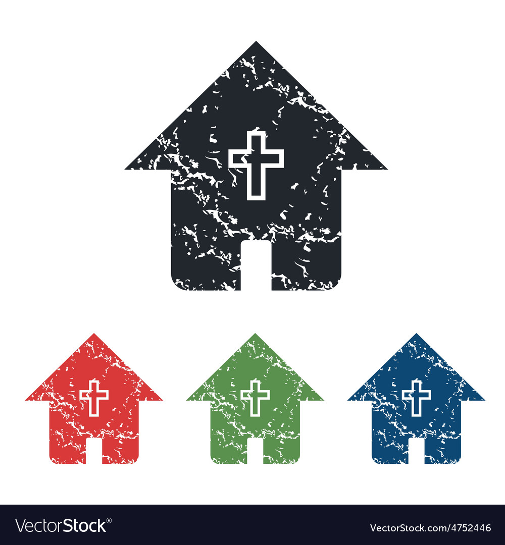 Christian house grunge icon set vector | Price: 1 Credit (USD $1)