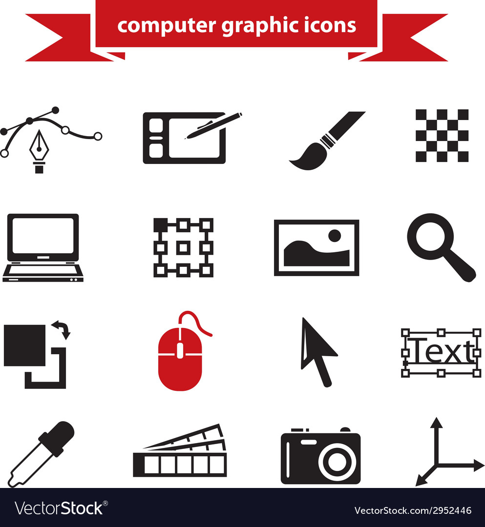 Computer graphic icons vector | Price: 1 Credit (USD $1)