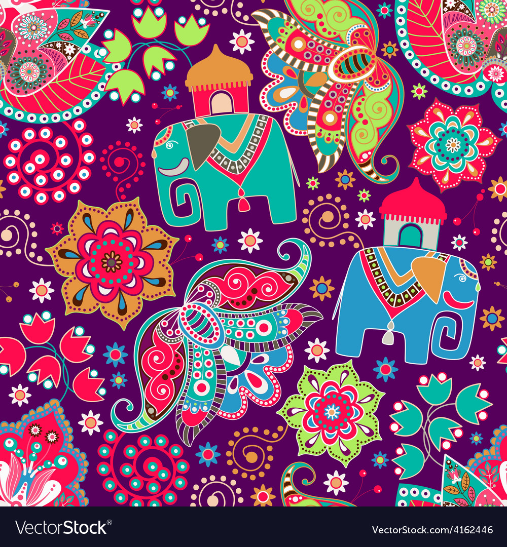Floral seamless pattern with decorative flowers vector | Price: 1 Credit (USD $1)
