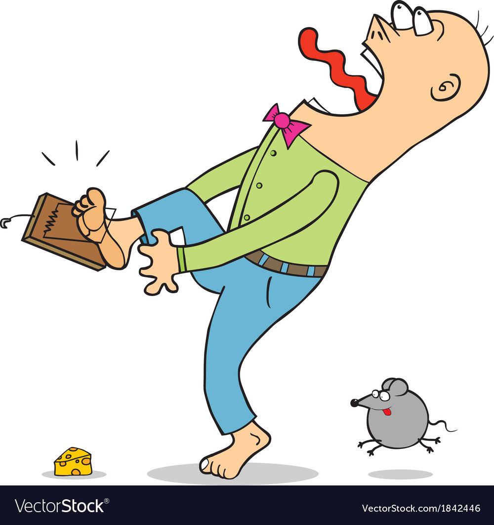 Man caught in mouse trap cartoon vector | Price: 1 Credit (USD $1)