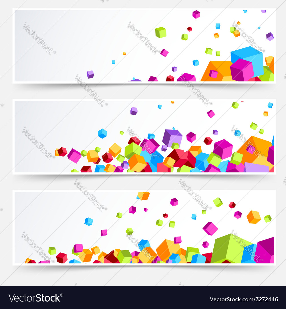 Modern bright plastic cube web business cards vector | Price: 1 Credit (USD $1)