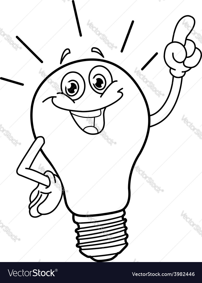 Outlined cartoon light bulb vector   Price: 1 Credit (USD $1)