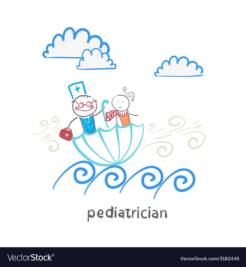 Pediatrician with baby sitting in an umbrella and vector | Price: 1 Credit (USD $1)