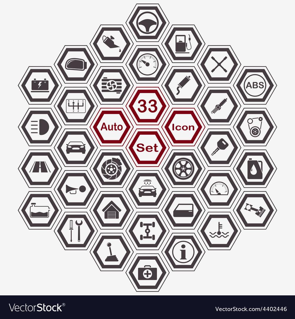 Polygon auto icon set vector | Price: 1 Credit (USD $1)