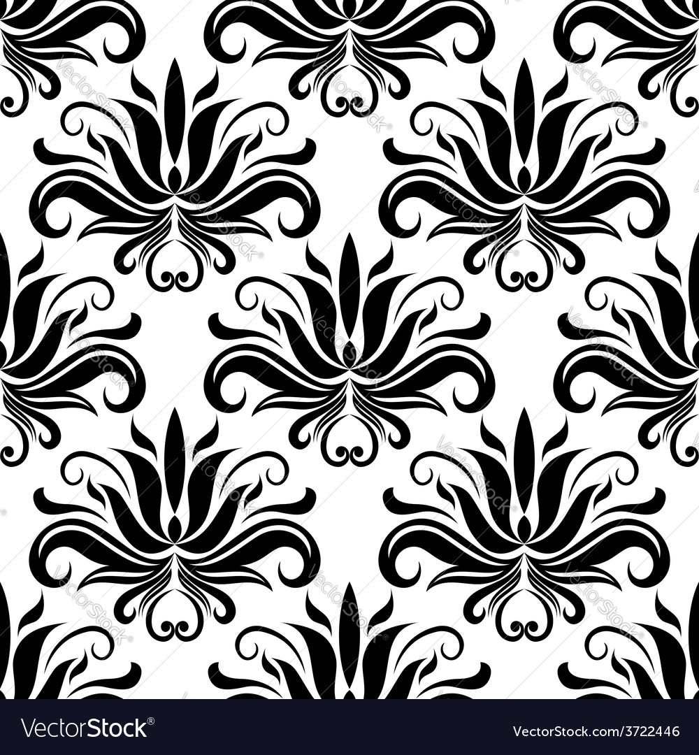 Seamless damask pattern with stylized yucca vector | Price: 1 Credit (USD $1)