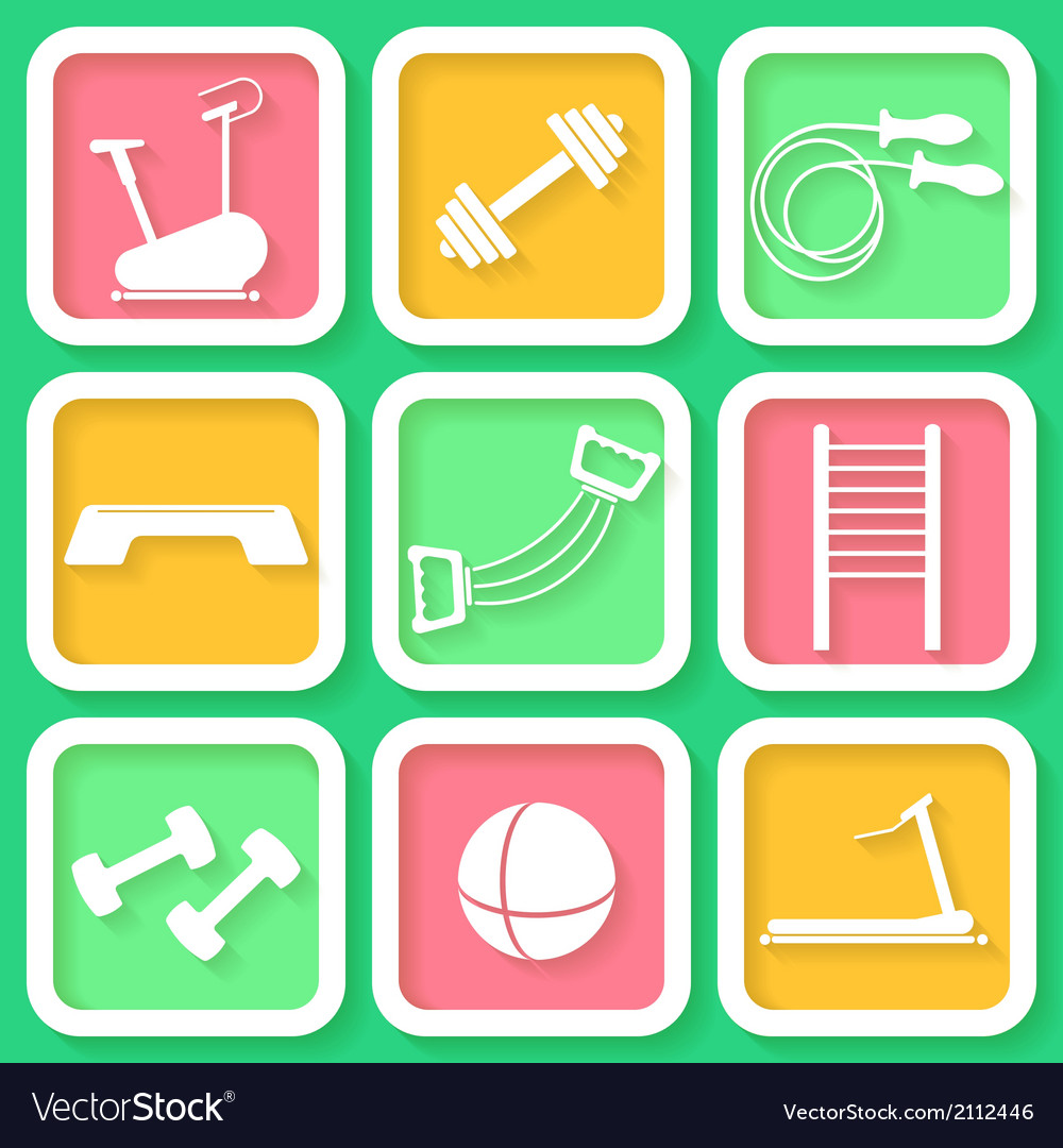 Set of 9 bright icons of the fintess club equipmen vector | Price: 1 Credit (USD $1)