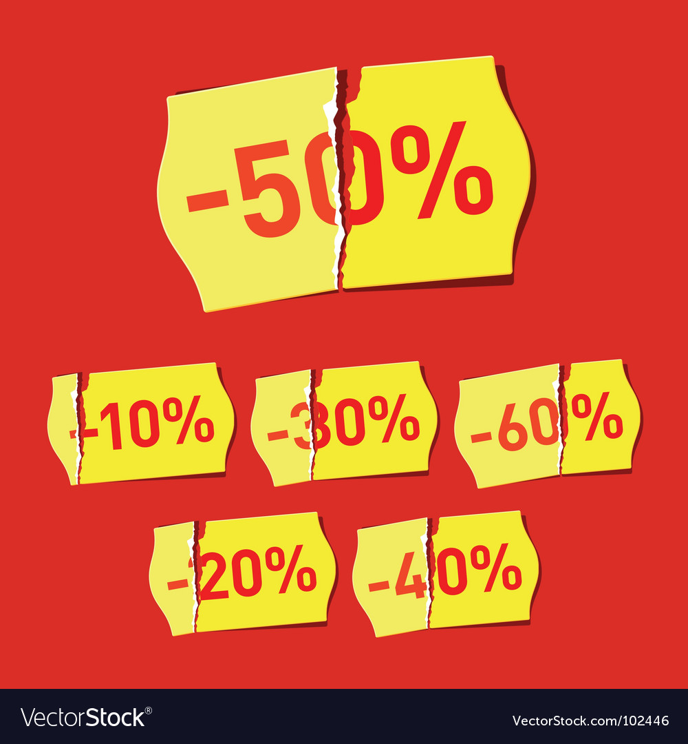 Set of discount stickers vector | Price: 1 Credit (USD $1)