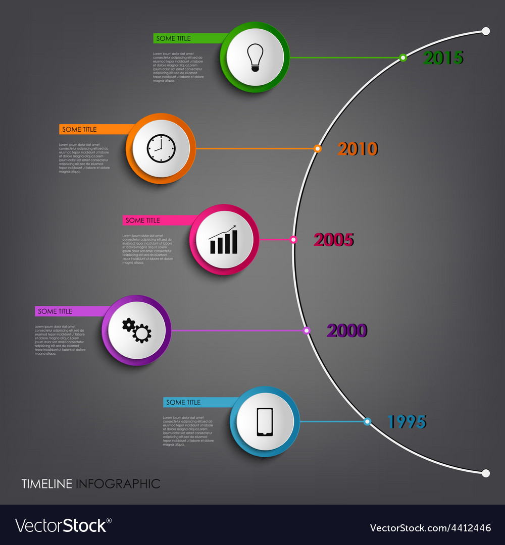 Time line info graphic colored abstract round vector | Price: 1 Credit (USD $1)