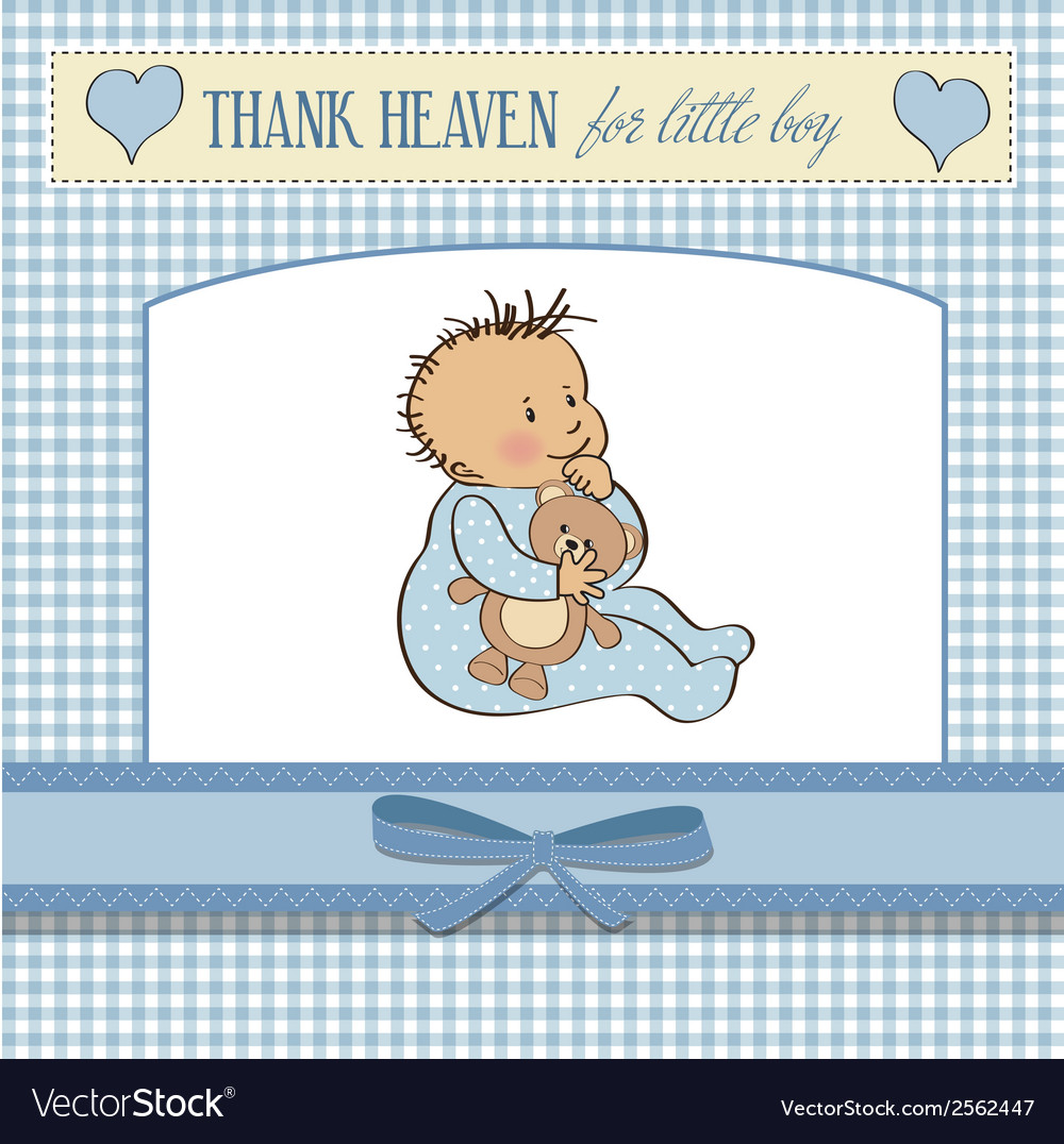Baby announcement card with little boy vector | Price: 1 Credit (USD $1)
