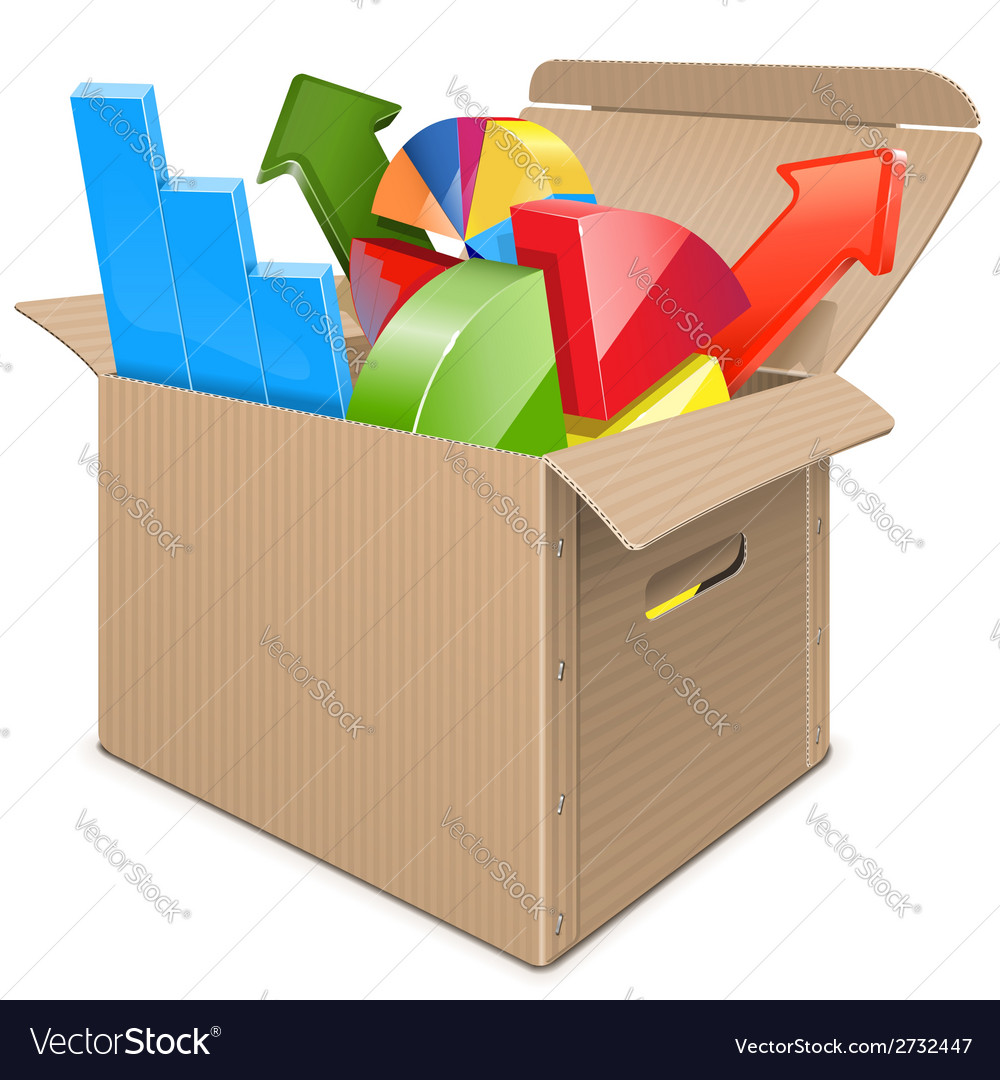 Carton box with statistics vector | Price: 1 Credit (USD $1)