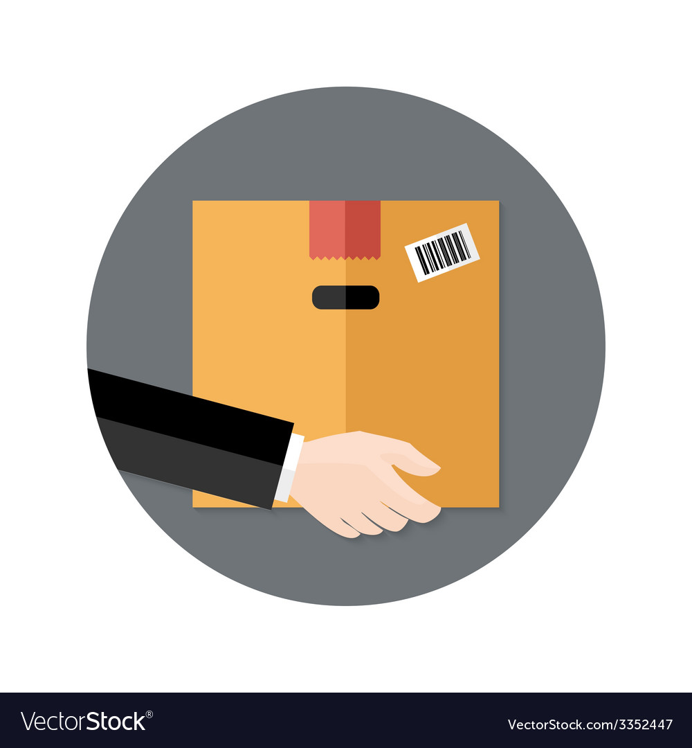 Delivery flat circle icon hand holding package vector | Price: 1 Credit (USD $1)
