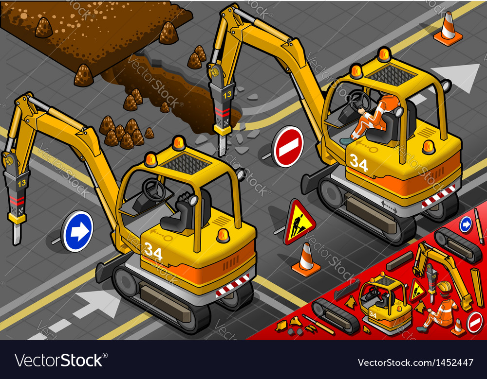 Isometric mini chisel excavator in rear view vector | Price: 1 Credit (USD $1)