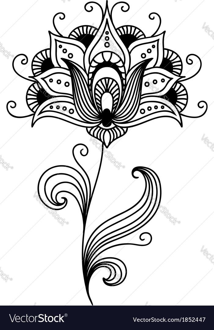 Ornate persian floral design vector | Price: 1 Credit (USD $1)