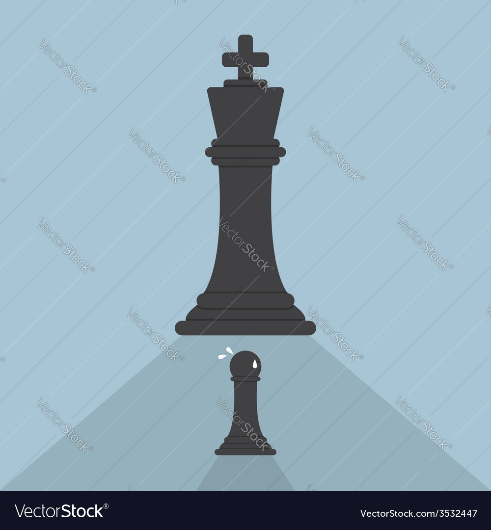 Pawn chess afraid of king chess vector   Price: 1 Credit (USD $1)