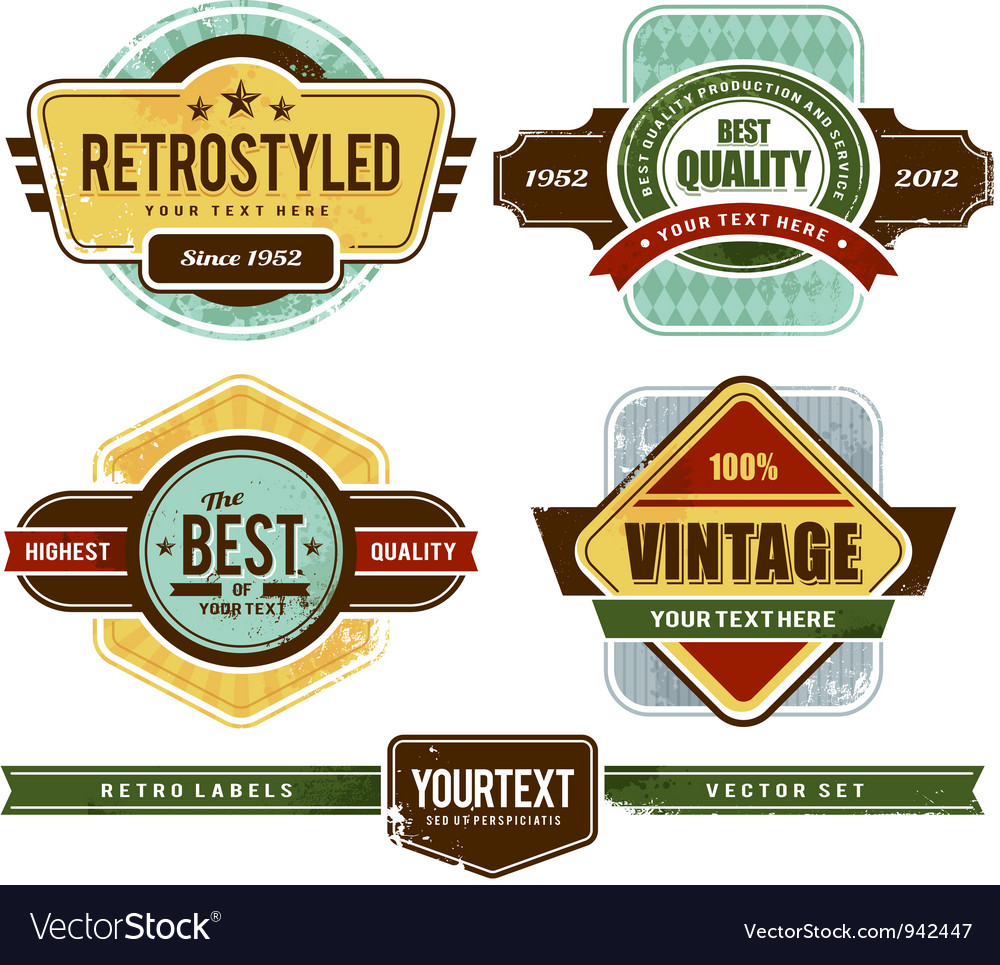 Set of grunge retro badges vector | Price: 3 Credit (USD $3)