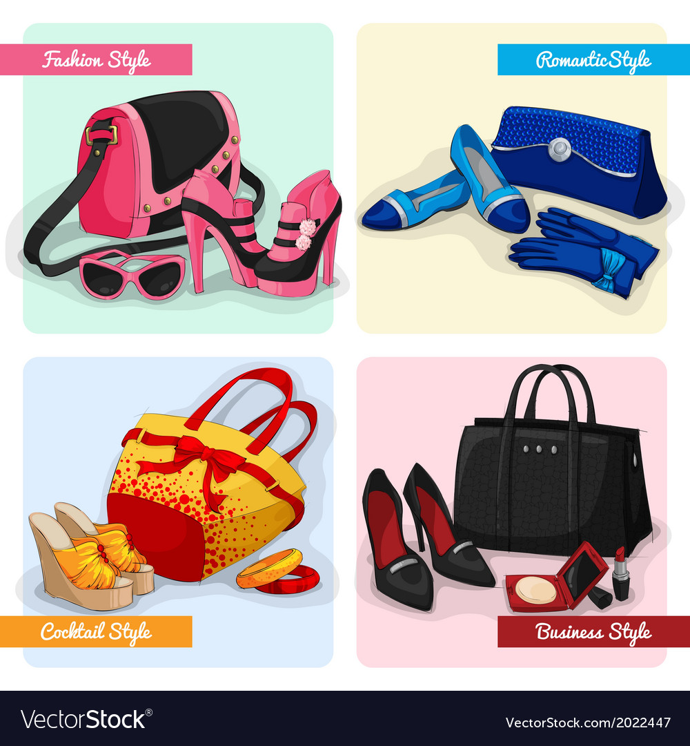 Set of women bags shoes and accessories vector | Price: 1 Credit (USD $1)