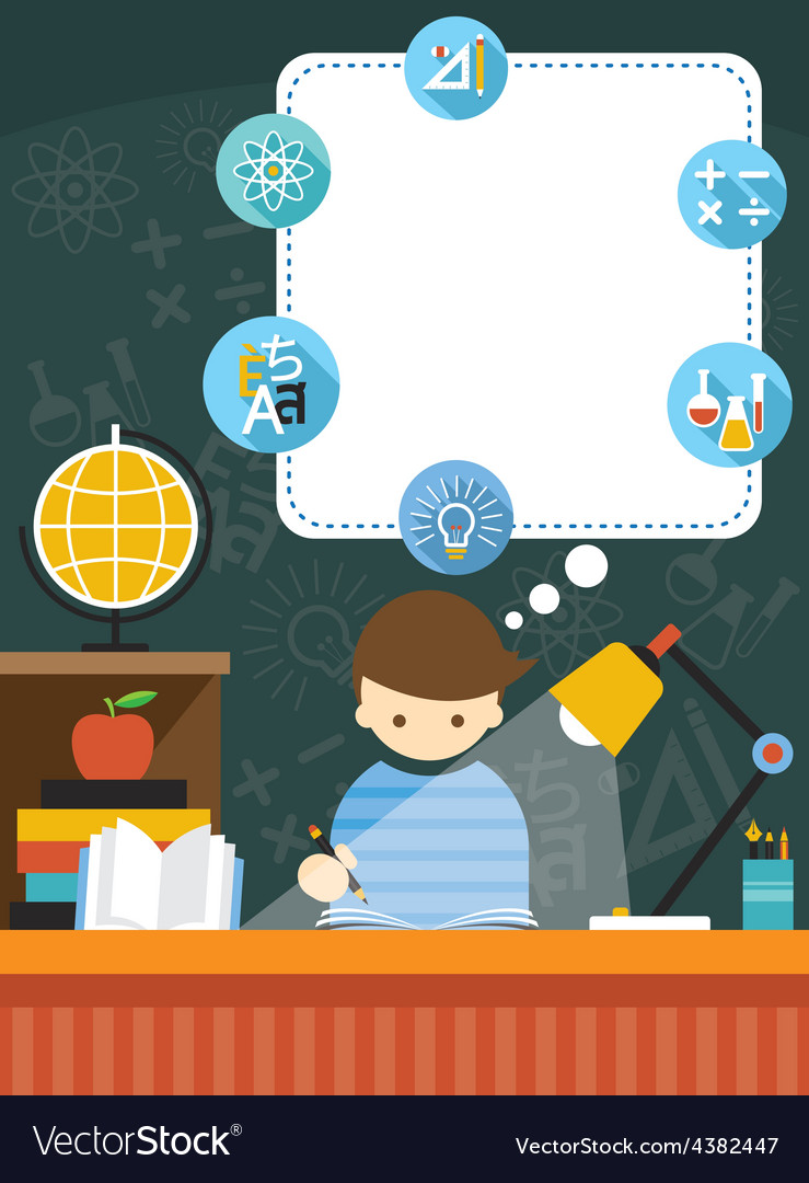 Student read book education frame and icons vector | Price: 1 Credit (USD $1)