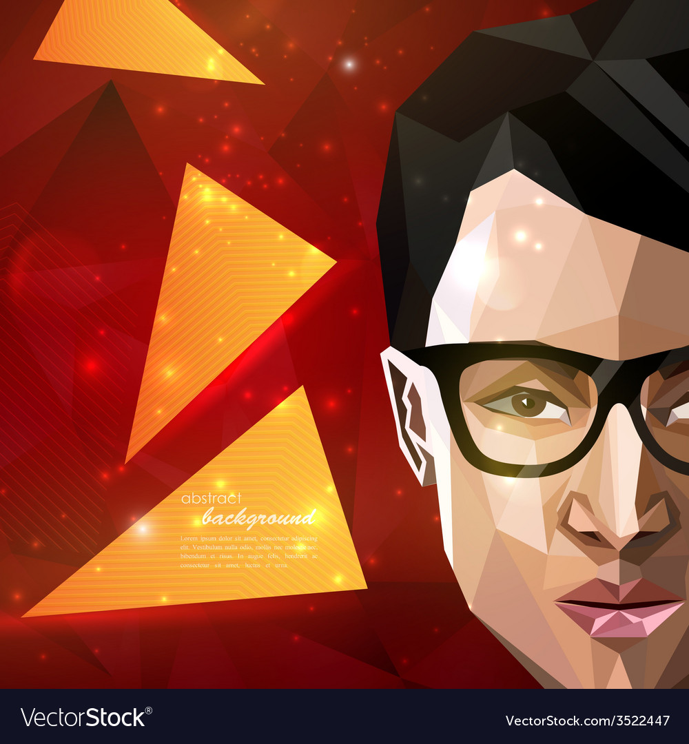 With an asian man face in polygonal style modern vector | Price: 1 Credit (USD $1)