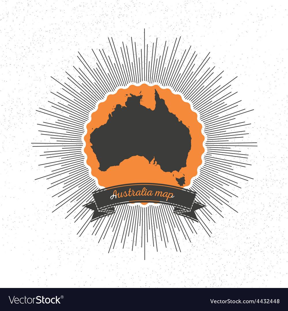 Australia map with vintage style star burst retro vector | Price: 1 Credit (USD $1)