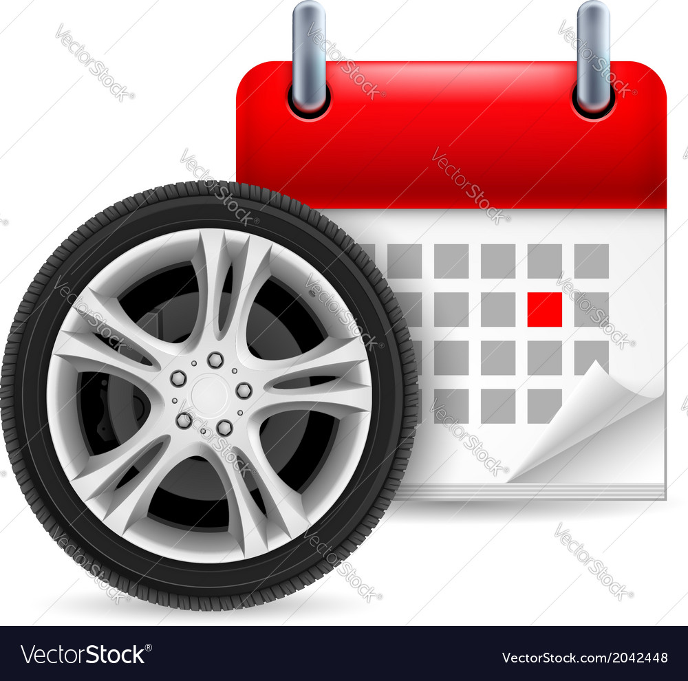 Car tire and calendar vector | Price: 1 Credit (USD $1)