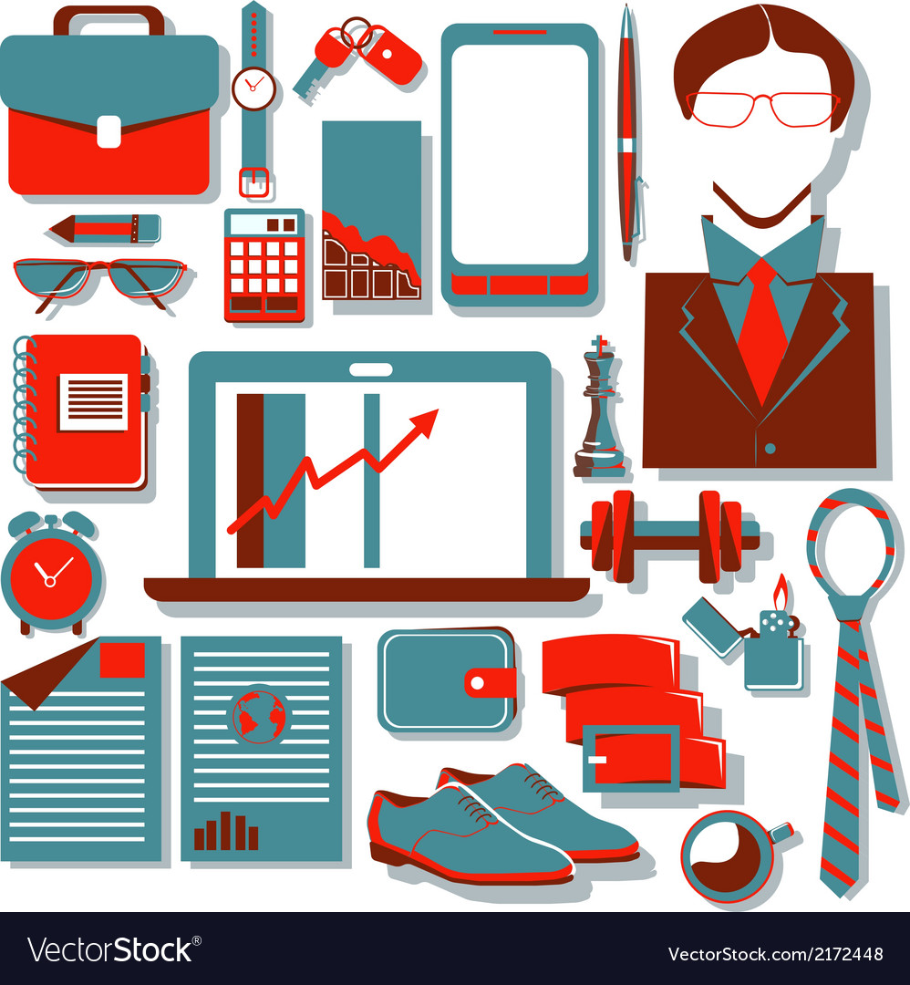 Flat design concept icons of modern businessman vector | Price: 1 Credit (USD $1)