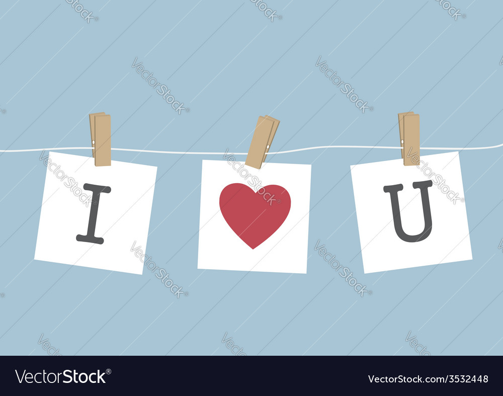 I love you hanging on wire vector   Price: 1 Credit (USD $1)