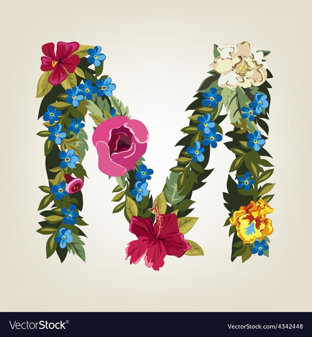 M letter flower capital alphabet colorful font vector | Price: 1 Credit (USD $1)