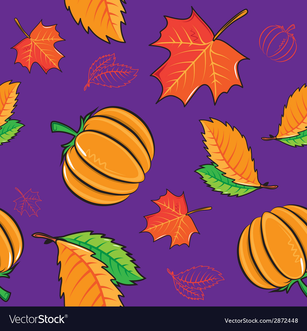 Seamless pattern with pumpkins and leaves vector | Price: 1 Credit (USD $1)