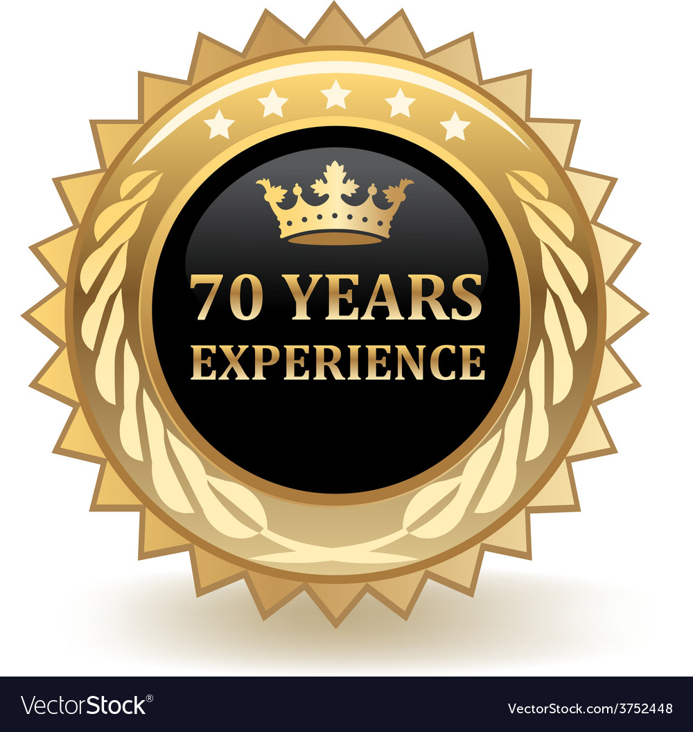 Seventy years experience badge vector | Price: 1 Credit (USD $1)