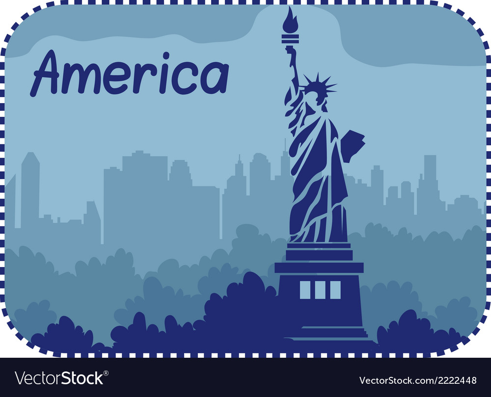 With statue of liberty in america vector | Price: 1 Credit (USD $1)