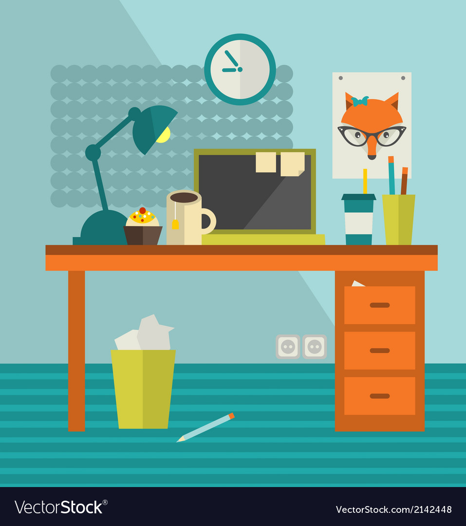 Work place of designer with lady fox poster vector | Price: 1 Credit (USD $1)