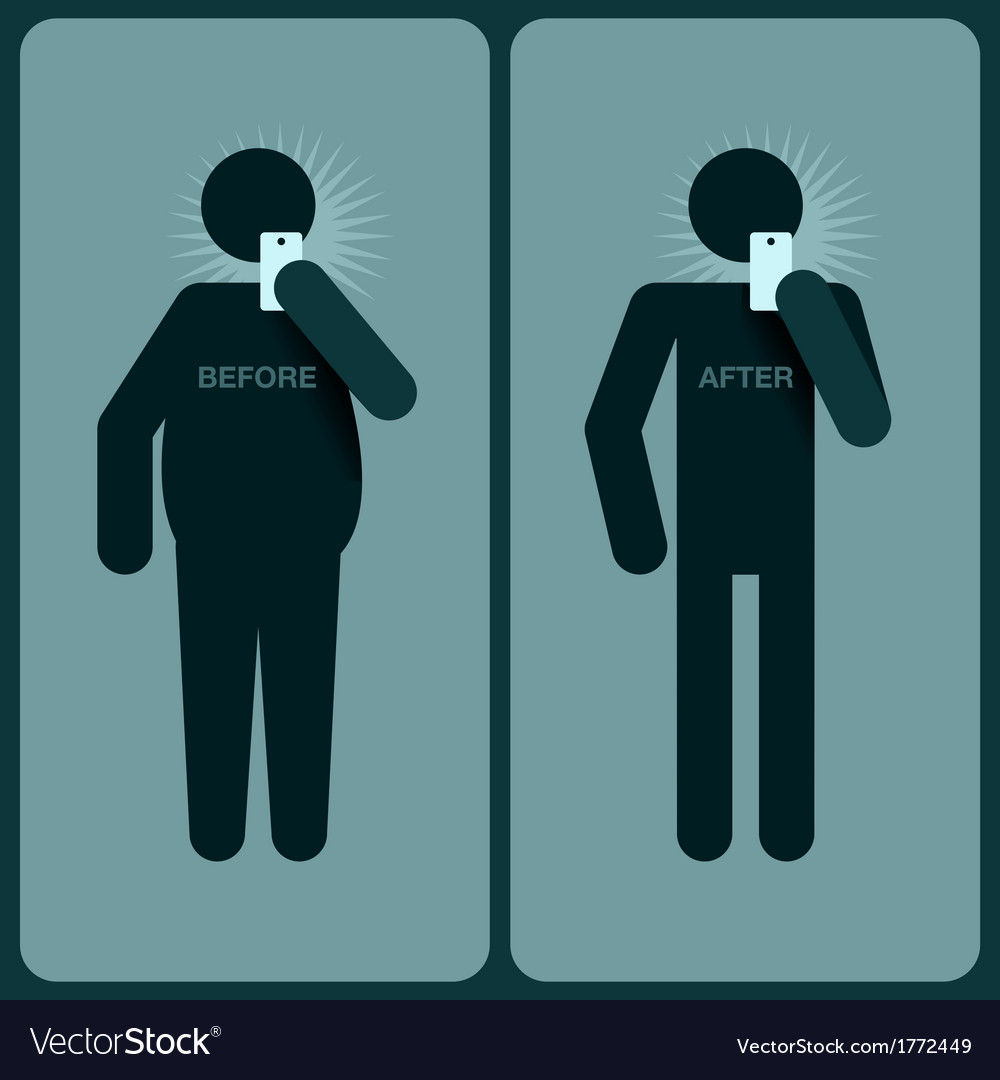 Before and after a diet silhouette of man vector | Price: 1 Credit (USD $1)